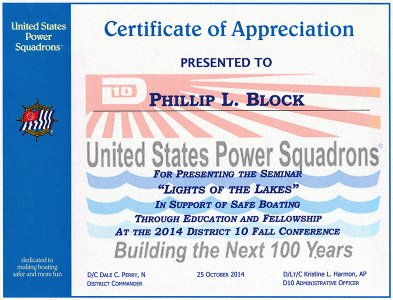 United States Power Squadrons Certificate of Appreciation