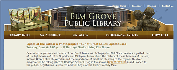 Elm Grove Public Library Program Announcement